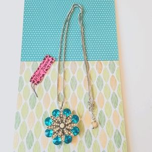 NEW BJ Necklace Blue Crystal Pendant Chain